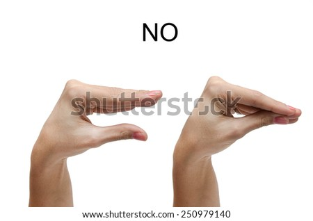 Woman hand sign NO ASL american sign language - stock photo
