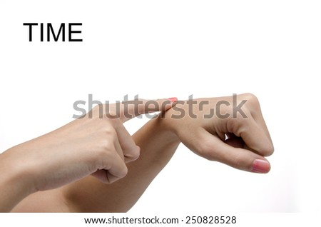 Woman hand sign TIME ASL American sign language - stock photo