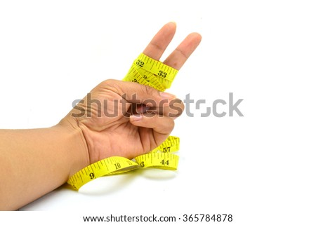 woman hand stretching a measure tape on a white isolated background (Encouragement to lose weight)