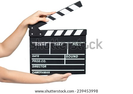 Woman hand take clipboard on white background - stock photo