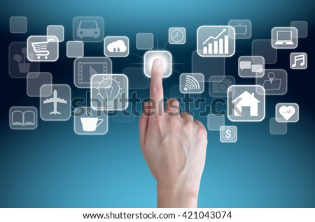 woman hand touch on virtual button screen , internet of things concept - stock photo