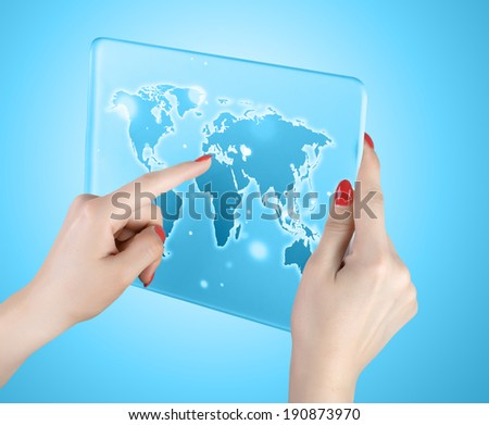 woman hand touch world map and connection - stock photo
