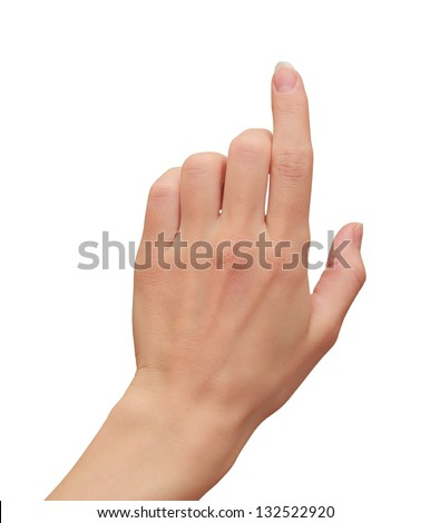 Woman hand touching, clicking on virtual touch screen isolated on white background - stock photo