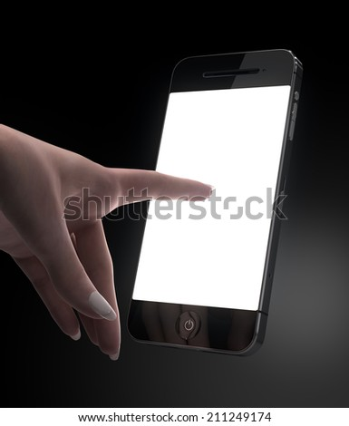 Woman hand touching smart phone blank display - stock photo