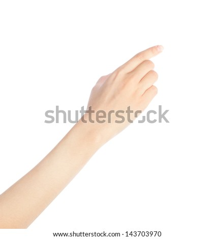 Woman hand touching virtual screen. Isolated on white. - stock photo