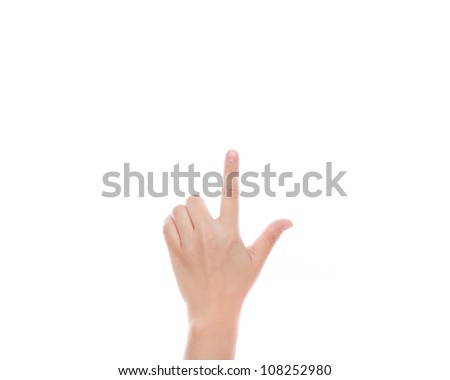 Woman hand touching virtual screen isolated on white background - stock photo