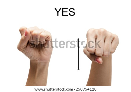 Woman hand up sign YES american sign language ASL - stock photo