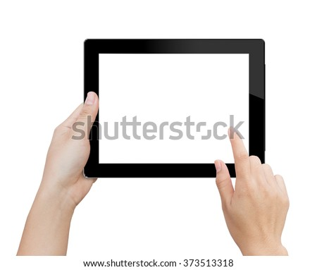 woman hand using mock up digital tablet similar to ipad 3 isolated clipping patch in image data - stock photo