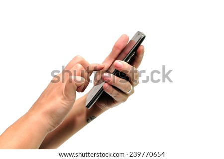 woman hand using smartphone over white background - stock photo
