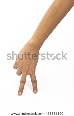 Woman hand walking with fingers isolated on a white background