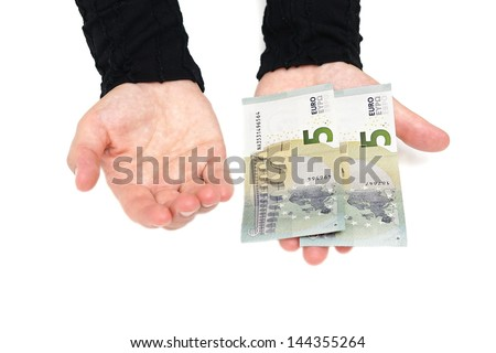 woman hand wants more money - stock photo