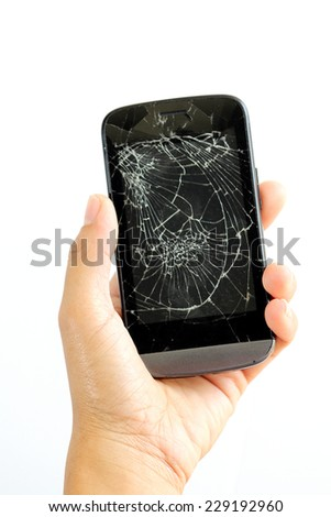 woman hand with broken phone, iso late on white background - stock photo