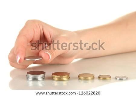 Woman hand with coins, close up - stock photo
