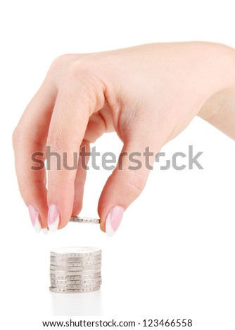 Woman hand with coins, isolated on white - stock photo