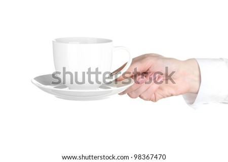 Woman hand with cup of coffee isolated on white - stock photo