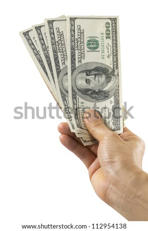 Woman hand with dollars isolated on white background (with clipping path)
