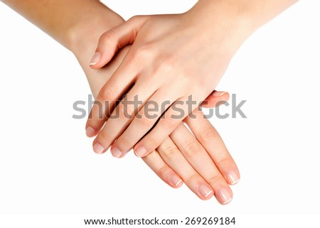 Woman hand with france manicure - stock photo