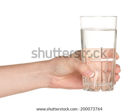 Woman hand with glass of water isolated on white background - stock photo