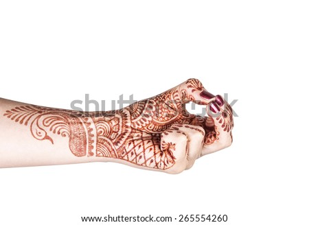 Woman hand with henna doing Kubera mudra isolated on white background with clipping path  - stock photo