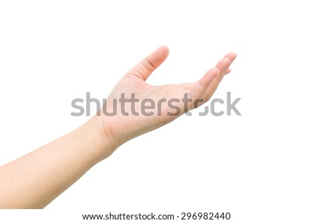 Woman hand with isolated background. - stock photo