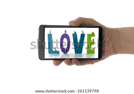 woman hand with making love text in phone - stock photo