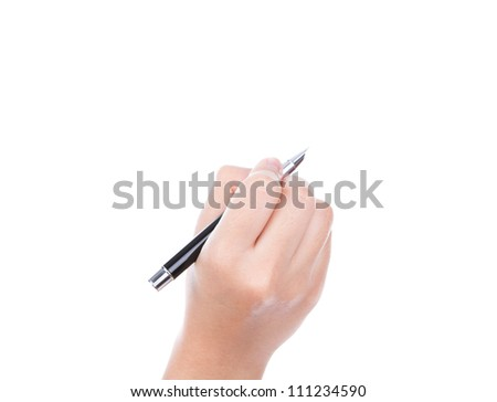 Woman  hand with pen on a white background - stock photo