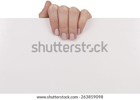 Woman hand with pink nails holding white empty board as if advertising something. All objects are isolated over white background