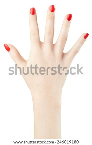 Woman hand with red nail polish manicure raised up isolated on white, clipping path included - stock photo