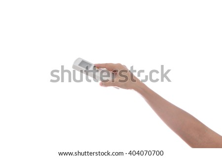 Woman Hand with remote control air conditioner isolated on white background