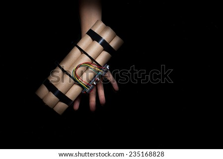 woman hand with the suicide bomb. - stock photo