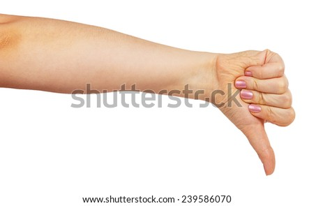 Woman hand with thumb down isolated on white background - stock photo
