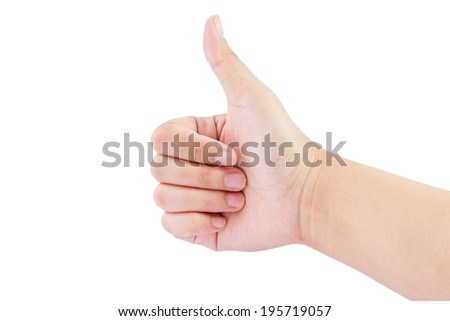 Woman hand with thumb up isolated on white