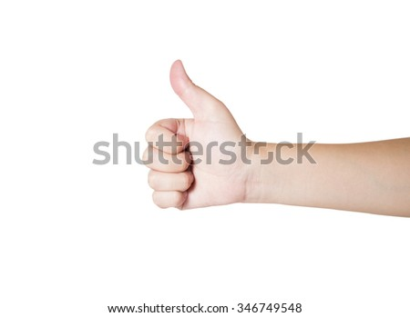 Woman hand with thumb up sign (Like or excellent sign) on isolated / background with clipping path