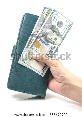 Woman Hand with wallet and  Money dollar