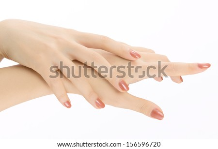 woman hand with white background - stock photo