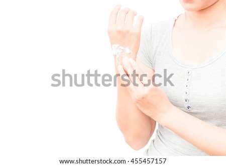 Woman hand with yogurt beauty skin care  on white background