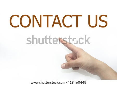 woman hand writing contact us on a transparent wipe board. isolated on white background - stock photo