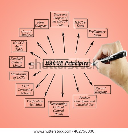 Woman hand writing element of HACCP principle for used in manufacturing.(Training and Presentation)