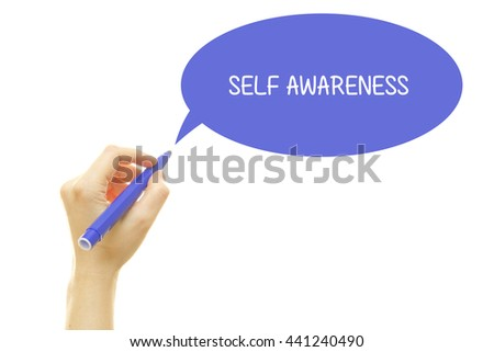 Woman hand writing SELF AWARENESS with a marker isolated on white. - stock photo