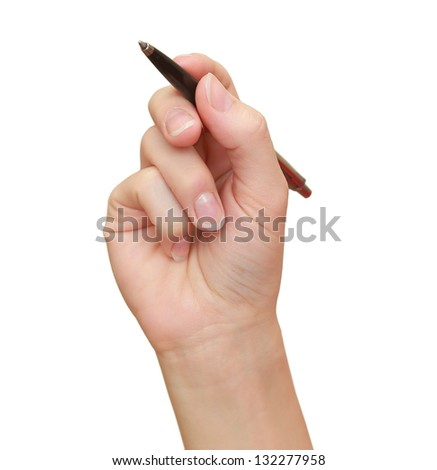 Woman hand writing the pen on empty space isolated on white background - stock photo