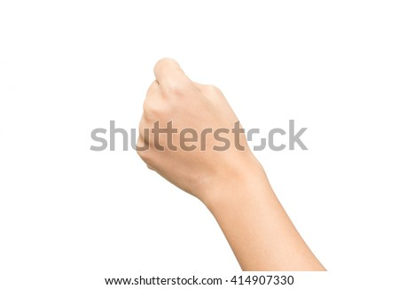 Woman handful on the isolated background