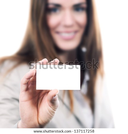 woman handing a blank business card over white background - stock photo