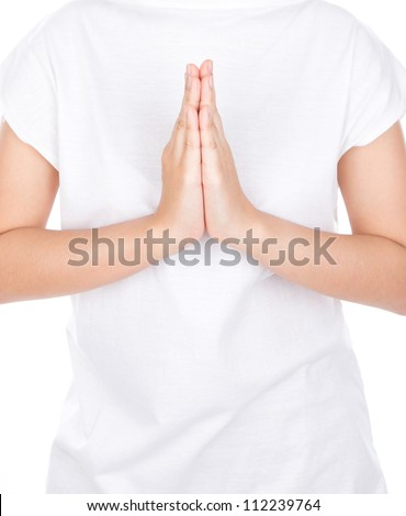 Woman hands greeting over body isolated on background. - stock photo
