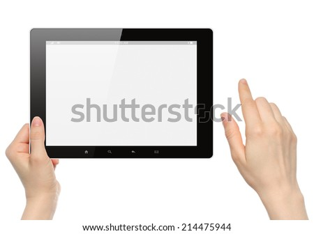 Woman hands hold and touch tablet PC on white background  - stock photo