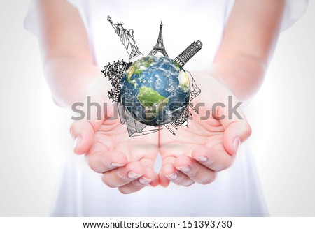 Woman hands hold travel around the world (Japan,France,Italy,New York,India,egypt) over body isolated on background.  (Elements of this image furnished by NASA) - stock photo