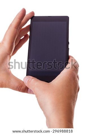 woman hands holding a smart phone with a black screen isolated over a white background - stock photo