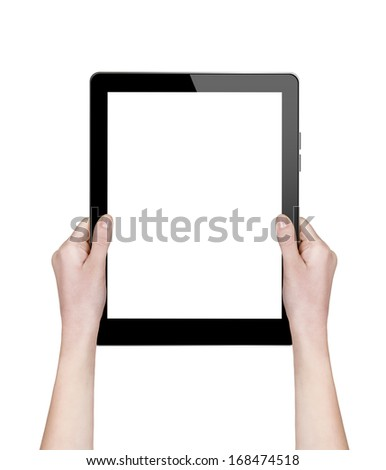 woman hands holding a tablet isolated on white - stock photo