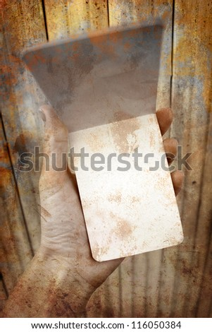 Woman hands holding an old notes