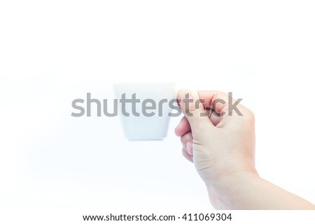 Woman hands holding coffee cup on white background - stock photo