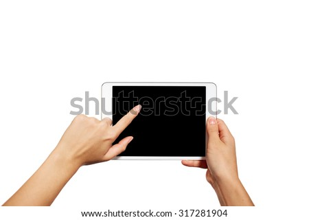 Woman hands holding contemporary generic tablet pc with blank screen. Isolated on white background. - stock photo